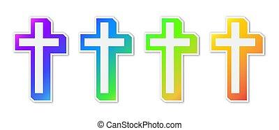 キリスト教徒, カラフルである, 交差点, セット, icons.