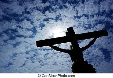 キリスト教徒, キリスト, 上に, 空, 交差点, 曇り, イエス・キリスト