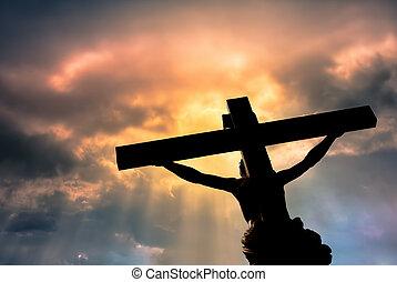 キリスト教徒, キリスト, 嵐である, 上に, 交差点, イエス・キリスト, 像, 雲