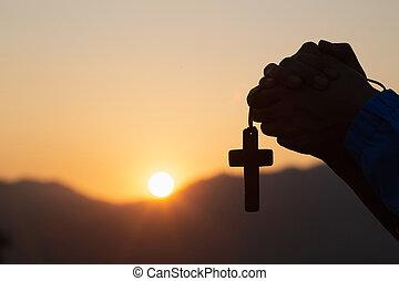 キリスト教徒, シルエット, 祈ること, 宗教, 交差点, 女, 日の出, 概念, 若い, バックグラウンド。