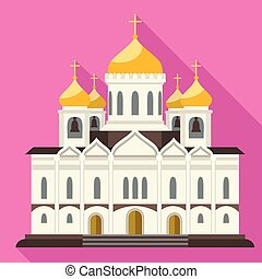 キリスト教徒, スタイル, 教会, アイコン, 正統, 平ら