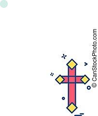 キリスト教徒, ベクトル, デザイン, 交差点, アイコン