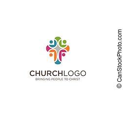 キリスト教徒, 主, logo., ロゴ, グループ, 人々, symbols., 教会, カラフルである, イエス・キリスト, worshiped, 社会