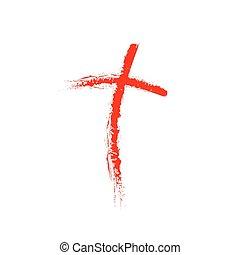 キリスト教徒, 交差点, イラスト, 手, ベクトル, 引かれる, icon.