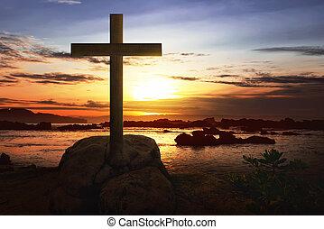 キリスト教徒, 交差点, 上に, ∥, 岩, 中に, 浜