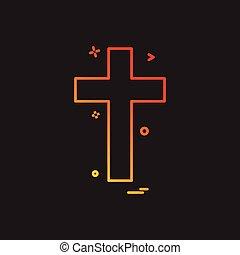 キリスト教徒, 交差点, 宗教, ベクトル, デザイン, アイコン