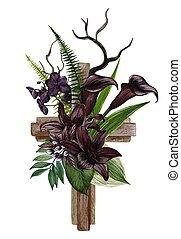 キリスト教徒, 交差点, 木製である, 黒, ユリ, 飾られる, callas