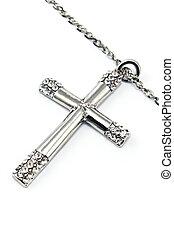 キリスト教徒, 交差点, 隔離された, ダイヤモンド, 小さい, 白, 銀