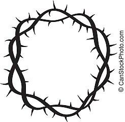 キリスト教徒, 宗教, 引かれる, 手, ベクトル, 白い背景, イラスト, シンボル, とげ, ロゴ, 王冠, スケッチ