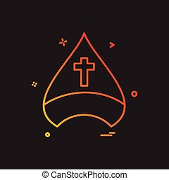 キリスト教徒, 帽子, 交差点, ベクトル, デザイン, アイコン
