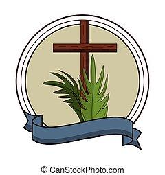 キリスト教徒, 木製である, シンボル, 交差点, 紋章, ラウンド