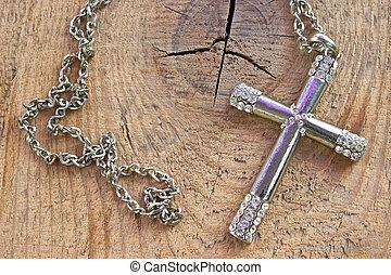 キリスト教徒, 木製である, 交差点, 背景, ダイヤモンド, 小さい, 銀