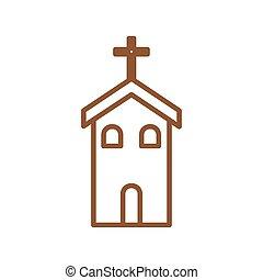 キリスト教徒, 線, カトリック教, ベクトル, スタイル, 教会, デザイン, アイコン