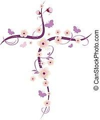 キリスト教徒, 隔離された, 交差点, 蝶, ベクトル, 花