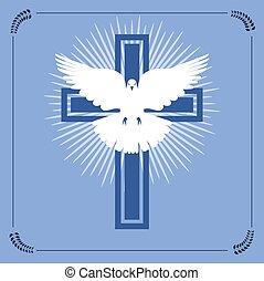 キリスト教徒, 飛行, 交差点, ベクトル, 白は潜った