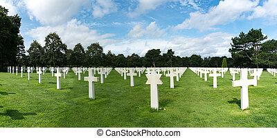 キリスト教徒, headstones, 浜, パノラマ, ノルマンディー, 墓地, ユダヤ人, アメリカ人, omaha