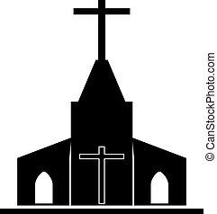 キリスト教徒, illustration., ベクトル, 教会, church., 崇拝, アイコン