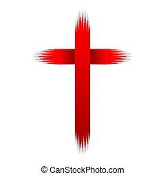 キリスト教徒, illustration., 手, cross., ベクトル, 引かれる