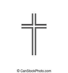 キリスト教徒, illustration., 隔離された, 交差点, シンボル, ベクトル, 黒, 薄くなりなさい, icon., 教会, ロゴ, 線, template.