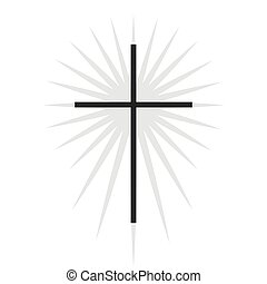 キリスト教徒, illustration., 隔離された, 照明, 交差点, シンボル, ベクトル, 黒, 薄くなりなさい, 教会, ロゴ, icon., template.