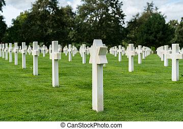 キリスト教徒, omaha, headstones, ユダヤ人, 墓地, アメリカ人, ノルマンディー, 浜, 光景