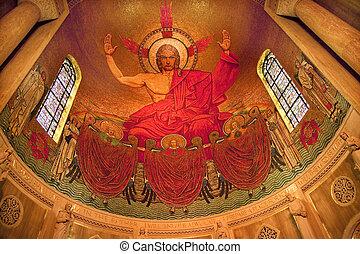 キリスト, モザイク, 神社, の, しみ一つない概念作用, 大聖堂, バシリカ, 中, ステンドグラス