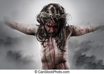 キリスト, 交差点, イエス・キリスト, 背景, 代表, 雲