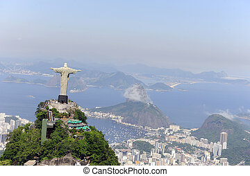キリスト, 救助者, そして, sugarloaf, 中に, リオデジャネイロ