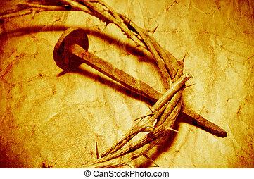 キリスト, 王冠, 効果, イエス・キリスト, フィルター, レトロ, とげ