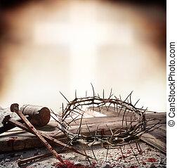 キリスト, 王冠, 爪, -, 交差点, イエス・キリスト, とげ, はりつけ, よく, ハンマー