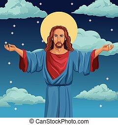 キリスト, 祝福された, イエス・キリスト, 背景, 夜, 宗教