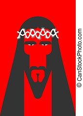 キリスト, 聖書, 神, face., son., イエス・キリスト, ベクトル, イラスト, 宗教
