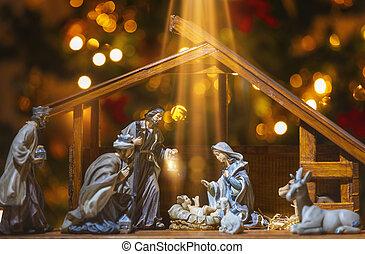 キリスト, scene;, イエス・キリスト, nativity, ヨセフ, mary, クリスマス