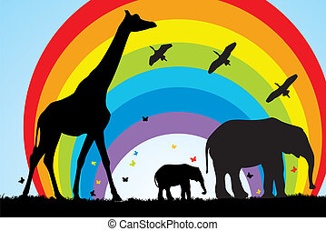 キリン, アフリカ, 象