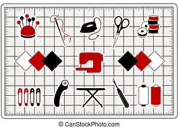 キルトにすること, 切断, アイコン, マット, 裁縫