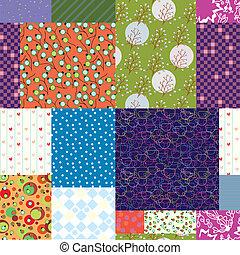 キルトパターン, -, seamless, デザイン, 花, 生地