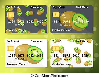 キーウィ, 甘い, クレジット, デザイン, 銀行カード