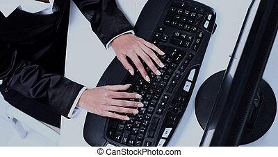 キーボード, タイプ, コンピュータ, 女性手