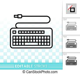 キーボード, 単純である, 黒, 線, ベクトル, アイコン