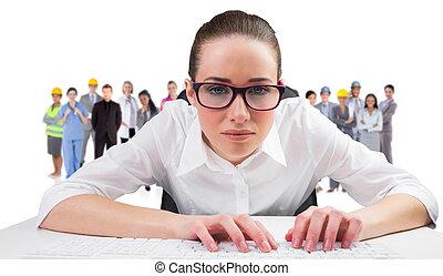キーボード, 合成, タイプ, 女性実業家, イメージ