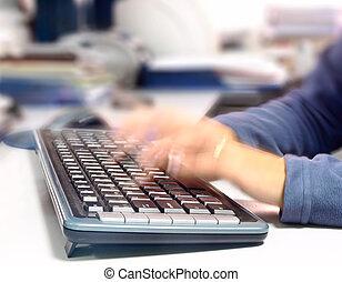 キーボード, 執筆, 女, コンピュータ, すぐに