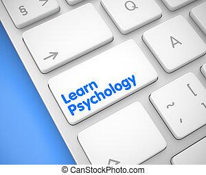 キーボード, 心理学, -, button., 白, 学びなさい, 碑文, 3d.
