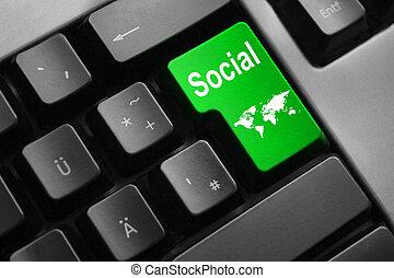 キーボード, 緑, 入りなさい, ボタン, 社会, 媒体, 世界