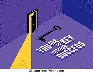 キー, キー, 暗い, ドア, door., 寄付, 神秘的, ベクトル, 新しい, 概念, イラスト, 成功, 半分, 場所, ライト, 開いた, 機会, 秘密