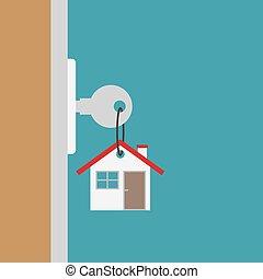 キー, ドア, 新しい, ベクトル, イラスト, home-