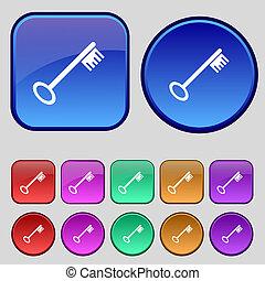 キー, ボタン, あなたの, セット, アイコン, 12, 印。, 型, design.
