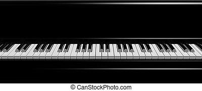 キー, 前部, 黒い背景, 光景, クローズアップ, ピアノ