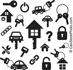 キー, 家, シンボル, 自動車