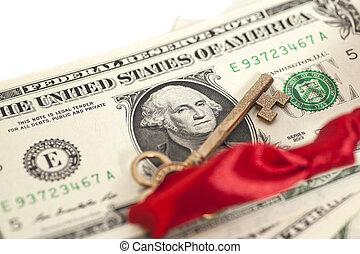 キー, 成功, ドル, 紙幣