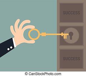 キー, 概念, success., ビジネス, illustration.